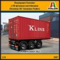 1:24 Italeri 3887 Полуприцеп Tecnokar с 20-футовым контейнером (Tecnokar 20' Container Trailer)